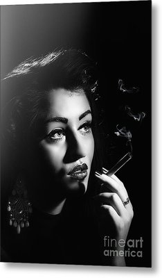 Film Noir Smoking Woman Metal Print
