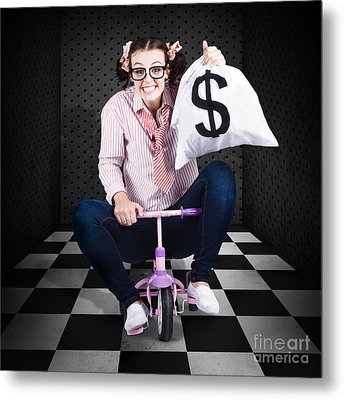 Finance Cash Withdrawal From Bank Safe Vault Metal Print