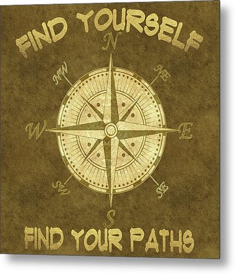 Metal Print featuring the painting Find Yourself Find Your Paths by Georgeta Blanaru