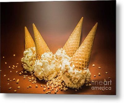 Fine Art Ice Cream Cone Spill Metal Print