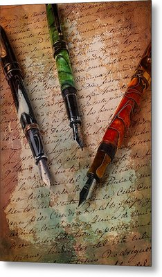 Fine Fountain Pens Metal Print by Garry Gay