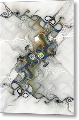 Metal Print featuring the digital art Fine Traces by Karin Kuhlmann