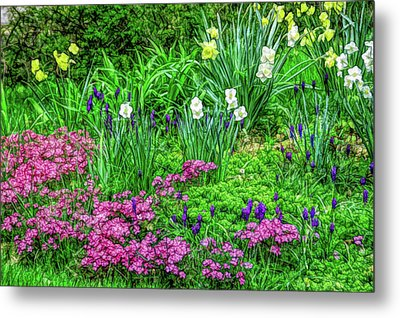 Metal Print featuring the photograph Fine Wine Cafe Garden Escape by Aimee L Maher Photography and Art Visit ALMGallerydotcom