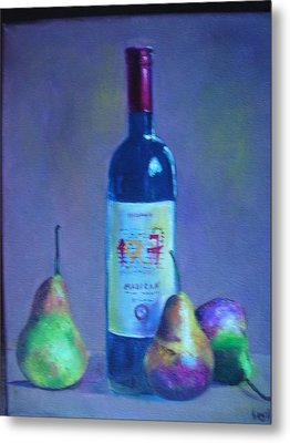 Fine Wine Paintings - A French Wine With Pears Metal Print by Virgilla Lammons