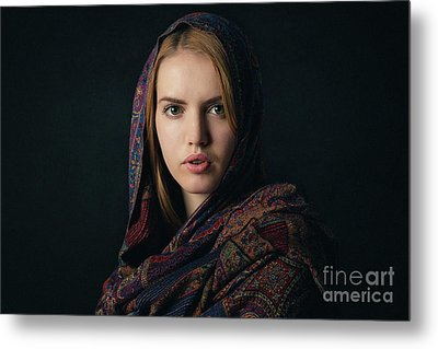 Fineart Portrait Of A Beautiful Young Blonde Woman With Scarf On Dark Background. Metal Print by Rostyslav Zabolotnyi