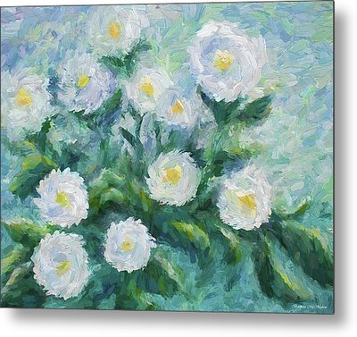 Finger Painted Garden Flowers Metal Print by Barbara McMahon