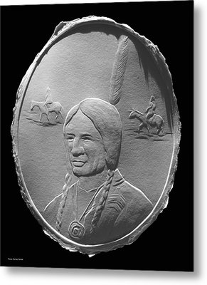 Metal Print featuring the relief Fingernail Relief Drawing Of American Indian  by Suhas Tavkar