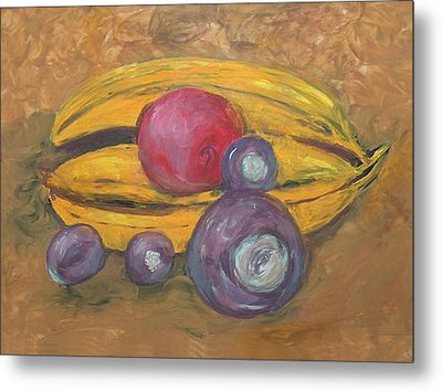 Fingerpainted Fruit Metal Print