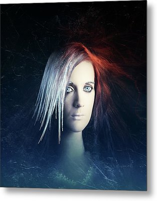 Fire And Ice Portrait Metal Print