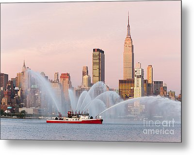 Fire Boat And Manhattan Skyline I Metal Print by Clarence Holmes