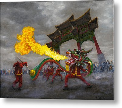 Metal Print featuring the painting Fire-breathing Dragon Dancer by Jason Marsh