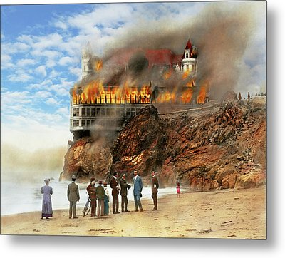 Metal Print featuring the photograph Fire - Cliffside Fire 1907 by Mike Savad