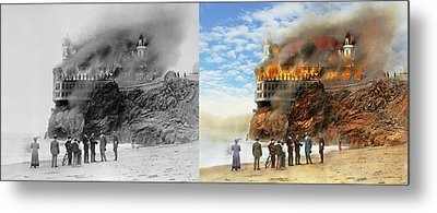 Metal Print featuring the photograph Fire - Cliffside Fire 1907 - Side By Side by Mike Savad