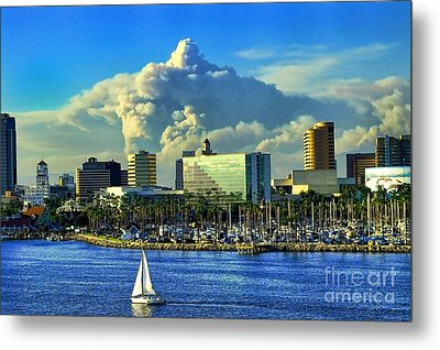 Metal Print featuring the photograph Fire Cloud Over Long Beach by Mariola Bitner
