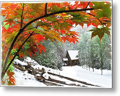 Fire Fog And Snowy Fence Metal Print by Debra and Dave Vanderlaan