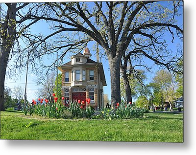 Fire House In The Park Metal Print