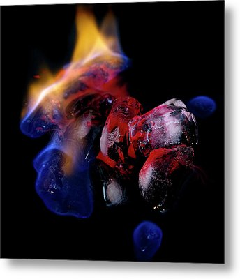 Metal Print featuring the photograph Fire, Ice And Water by Rico Besserdich