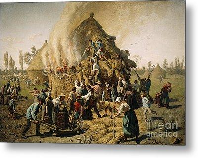 Fire In A Haystack, 1856 Metal Print