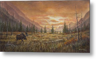 Metal Print featuring the painting Fire In The Sky by Kim Lockman