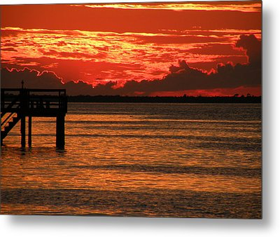 Metal Print featuring the photograph Fire In The Sky by Rosalie Scanlon