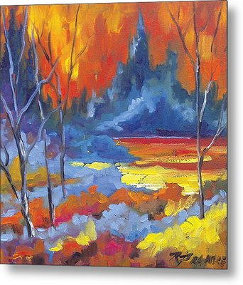 Fire Lake Metal Print by Richard T Pranke