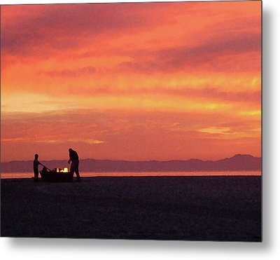 Fire On The Beach Metal Print
