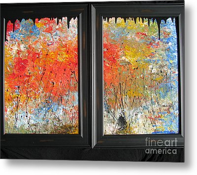 Metal Print featuring the painting Fire On The Prairie by Jacqueline Athmann