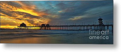 Fire On The Sky - Huntington Beach Pier Metal Print by Peter Dang