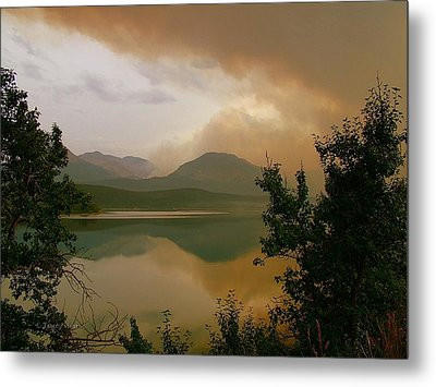 Fire Over St Mary Lake Metal Print