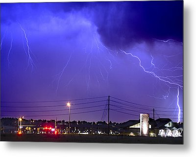 Fire Rescue Station 67  Lightning Thunderstorm Metal Print by James BO  Insogna