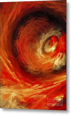 Metal Print featuring the digital art Fire Storm Abstract by Andee Design