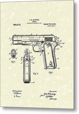 Firearm 1911 Patent Art Metal Print