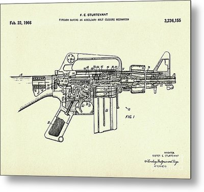 Firearm Having An Auxiliary Bolt Closure Mechanism-1966 Metal Print