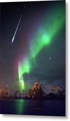 Fireball In The Aurora Metal Print