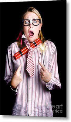 Fired Business Woman In Dynamite Fright Metal Print by Jorgo Photography - Wall Art Gallery