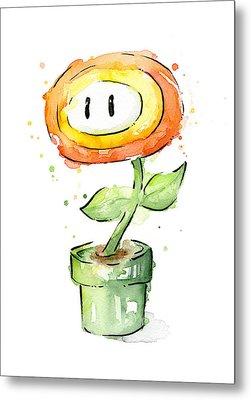 Fireflower Watercolor Painting Metal Print by Olga Shvartsur