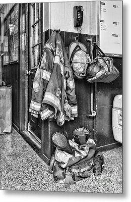 Fireman - Always Ready - Black And White Metal Print by Paul Ward