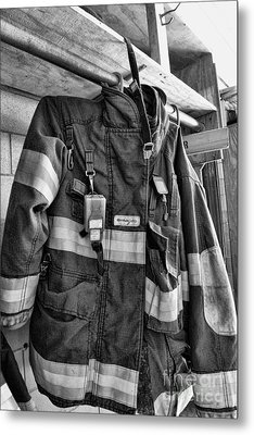 Fireman - Saftey Jacket Black And White Metal Print by Paul Ward