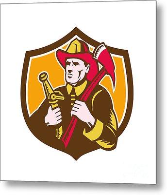 Fireman Firefighter  Axe Hose Crest Woodcut Metal Print