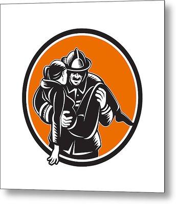 Fireman Firefighter Saving Girl Circle Woodcut Metal Print