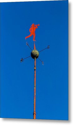 Fireman Weather Vane Metal Print by Garry Gay