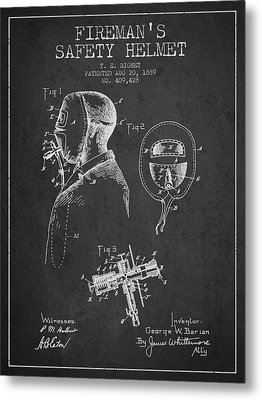 Firemans Safety Helmet Patent From 1889 - Dark Metal Print by Aged Pixel