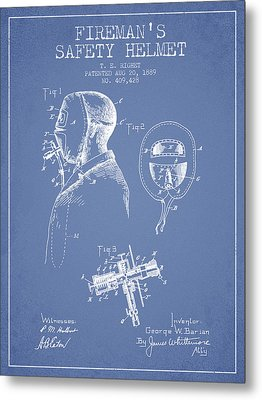 Firemans Safety Helmet Patent From 1889 - Light Blue Metal Print by Aged Pixel