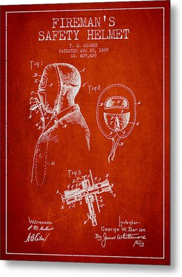 Firemans Safety Helmet Patent From 1889 - Red Metal Print by Aged Pixel