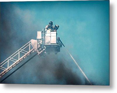 Firemen Dousing Flames  Metal Print