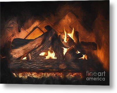 Fireplace  ... Metal Print by Chuck Caramella