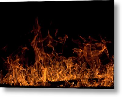 Fireplace Flames On Black Background Metal Print