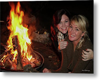 Metal Print featuring the photograph Fireside Sisterly Love Night Photography Art by Reid Callaway