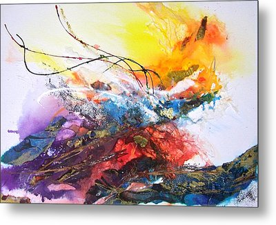 Metal Print featuring the painting Firestorm by Helen Harris