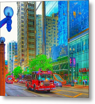 Metal Print featuring the photograph Firetruck In Chicago by Marianne Dow